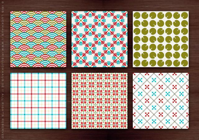 Farbenfrohe Retro Muster im Stil der Fünfziger, Sechziger und Siebziger Jahre mit Karos, Küchenkaros, Wellen, Blättern und Blumen für Lily Lux