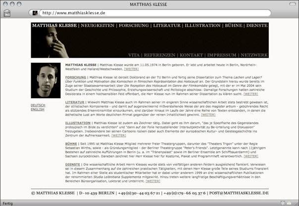 Webdesign für Matthias Klesse