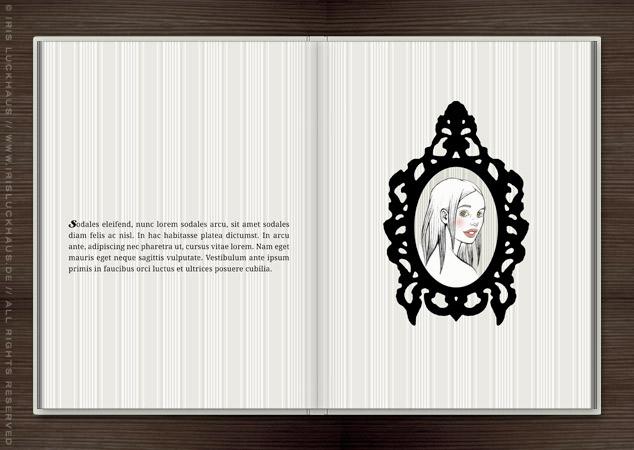 Leicht gezeichnetes Mädchenportrait im schwarzen Rahmen auf einer Seite im Buch Träumen von Berlin
