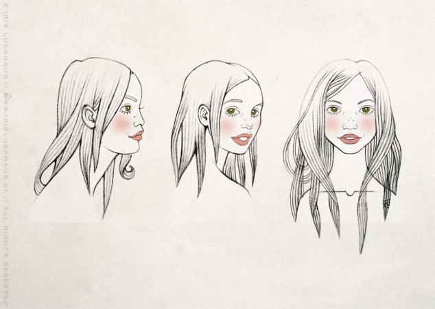 Character Design mit Skizzen für das Gesicht der Heldin von vorne, Seite und im Profil für Träumen von Berlin