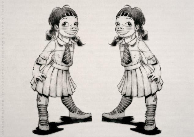 Character Design unf Entwürfe für Buchillustrationen und eine Kinderoper über Die kleinen Zwillinge