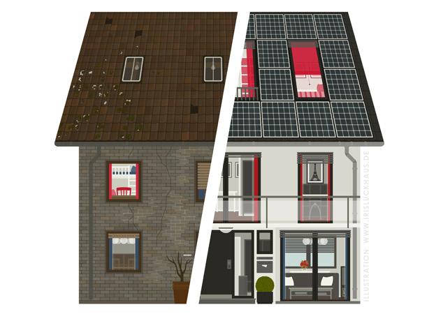 Zeichnung von einem geteilten Häuschen mit einer renovierten und einer unrenovierten Hälfte für einen Fragebogen der Stadtsparkasse Wuppertal