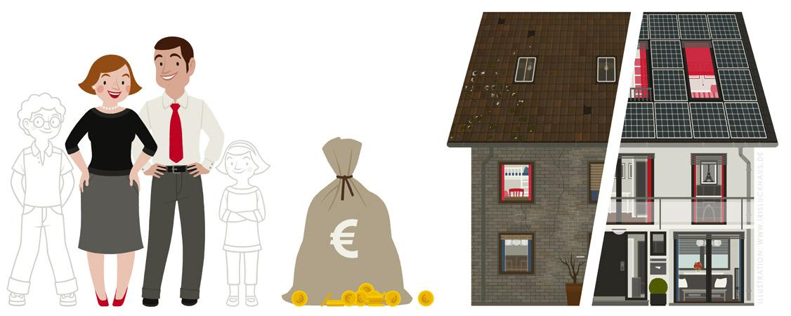 Illustrationen von Familie, Geldsack und Haus