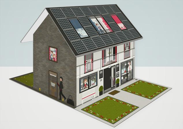 Modell des faltbaren Hauses aus Pappe als Erklärhilfe für die Bausparer der Stadtsparkasse Wuppertal