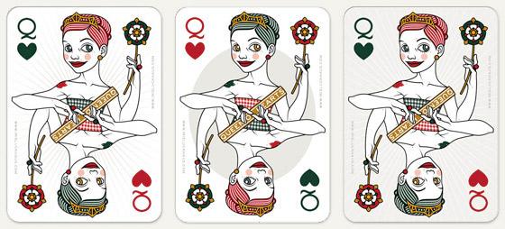Auswahl von Hintergründen wie Stern und Medaillon für die Herzdame Spielkarte für 52 Aces Reloaded von Zeixs