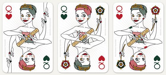 Auswahl von Handhaltungen mit Berührungen und Handherz für die Herzdame Spielkarte für 52 Aces Reloaded von Zeixs