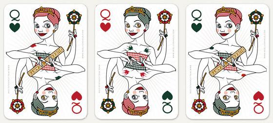 Auswahl von Tätowierungen wie Herzen und Schwalben für die Herzdame Spielkarte für 52 Aces Reloaded von Zeixs