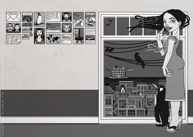 Illustration für Buchumschlag für Die Geschichte von Miu mit Pinguinen, Raben, Japan, Wien, Strommasten, Helikoptern und altem Whisky von Marcel Magis im Brandneu Verlag