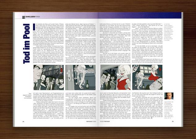enthouse Magazin mit Illustrationen im Film Noir Comic Stil zur Krimi Geschichte Ricos Tod mit Detektiv, Pinups, Models, Whirlpool und Party von Jagomir Krohm