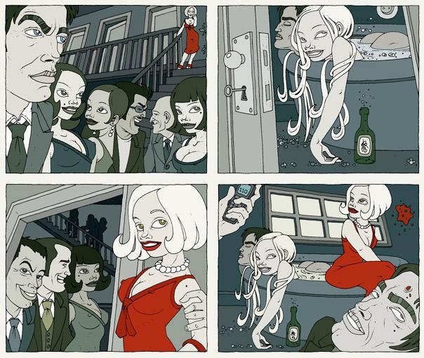 Illustrationen im Film Noir Comic Stil zur Krimi Geschichte Tod im Pool mit Detektiv, Pinups, Models, Whirlpool und Party von Jagomir Krohm für das Penthouse Magazin