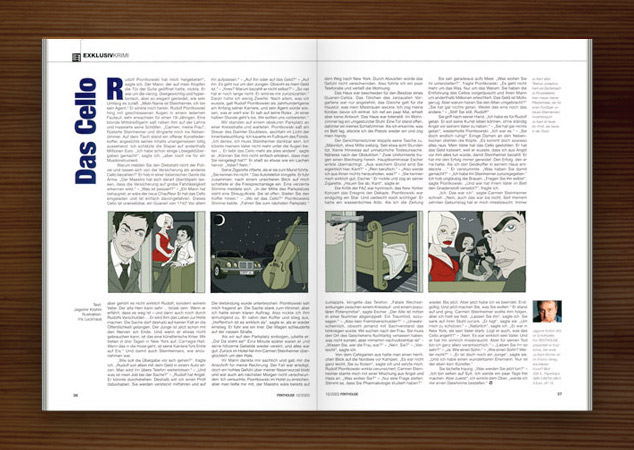 Penthouse Magazin mit Illustrationen im Film Noir Comic Stil zur Krimi Geschichte Das Cello mit Detektiv, Liebhabern, Jaguar, Damen, Bett, Cello und Violine von Jagomir Krohm