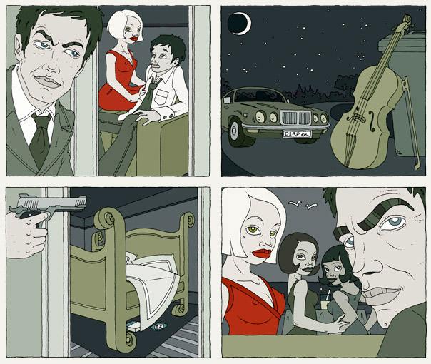 Illustrationen im Film Noir Comic Stil zur Krimi Geschichte Das Cello mit Detektiv, Liebhabern, Jaguar, Damen, Bett, Cello und Violine von Jagomir Krohm für das Penthouse Magazi
