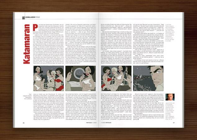 Penthouse Magazin mit Illustrationen im Film Noir Comic Stil zur Krimi Geschichte Katamaran mit Detektiv, Segelboot, Yacht, Crew und Models im Bikini von Jagomir Krohm