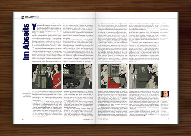 Penthouse Magazin mit Illustrationen im Film Noir Comic Stil zur Krimi Geschichte Im Abseits mit Detektiv, Fußballern, Mädchen, Pinups, Wasserbetten und Jaguar von Jagomir Krohm