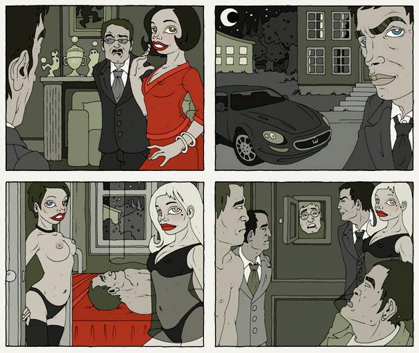 Illustrationen im Film Noir Comic Stil zur Krimi Geschichte Im Abseits mit Detektiv, Fußballern, Mädchen, Pinups, Wasserbetten und Jaguar von Jagomir Krohm für das Penthouse Magazin