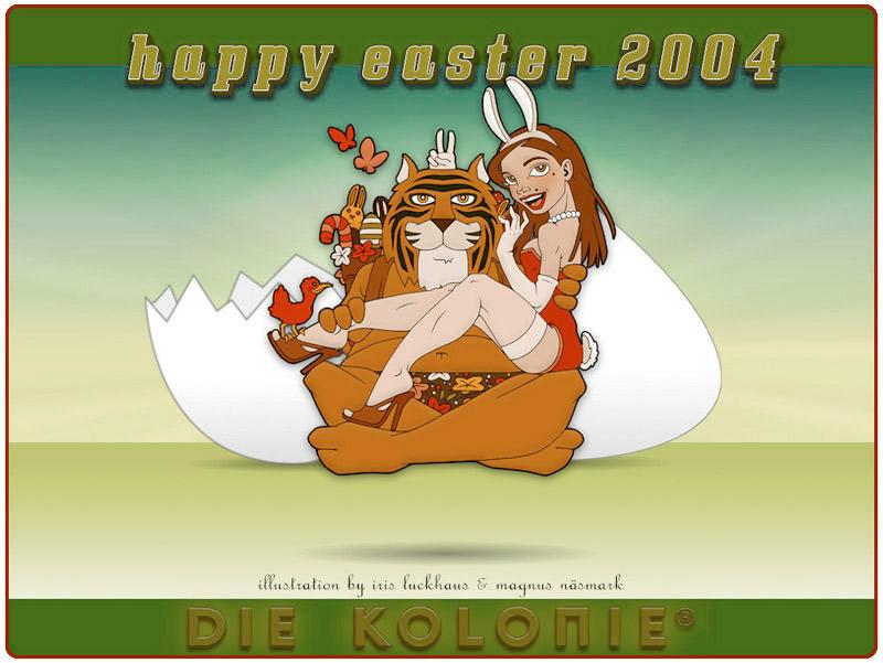 Ostertiger – Tiger mit Pinup Bunny – als Osterkarte und Desktop für Die Kolonie