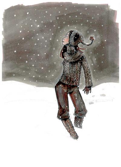 Zeichnung von einem Mädchen beim Spaziergang im Schnee mit einer Sternschnuppe für Dr. Hilbert