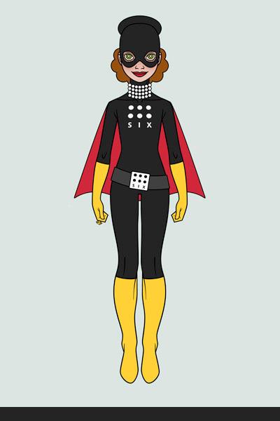 Character Design, Mode und Kostüm im Look von Catwoman im Bodysuit oder Catsuit für ein Pinup Mädchen als Superheldin oder Supergirl Sixgirl für SIX Accessories