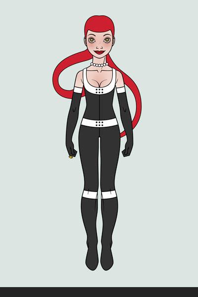 Character Design, Mode und Kostüm im Yoga Look mit Korsett für ein Pinup Mädchen als Superheldin oder Supergirl Sixgirl für SIX Accessories