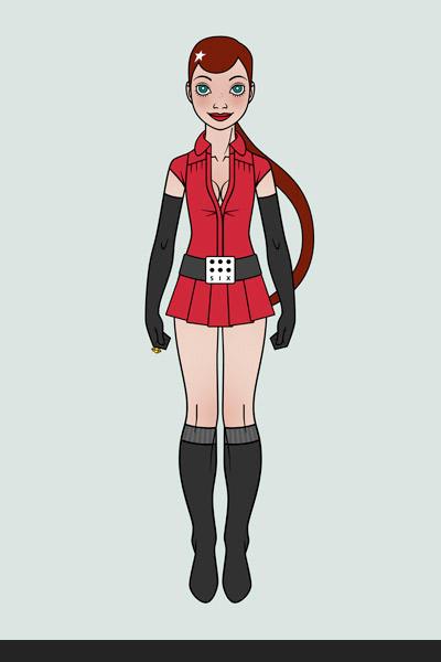 Character Design, Mode und Originalkostüm für ein Pinup Mädchen als Superheldin oder Supergirl Sixgirl für SIX Accessories