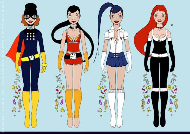 Character Design und Kostüme für Sixgirl, ein Supergirl für SIX Accesssories