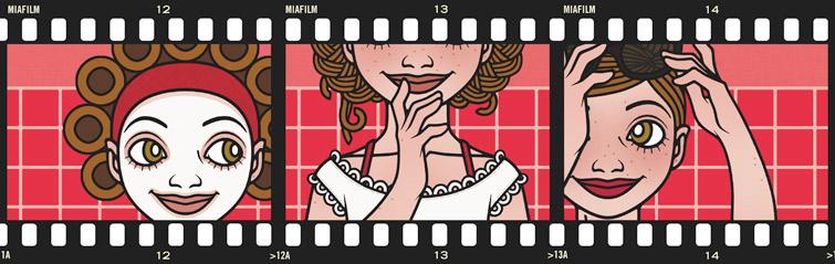 Lily Lux Fotostreifen mit Bildern zur Schönheit und Kosmetik im roten Badezimmer mit Handtuch, Gesichtsmaske und Lockenwicklern, Handtuch und Sonnenbrille