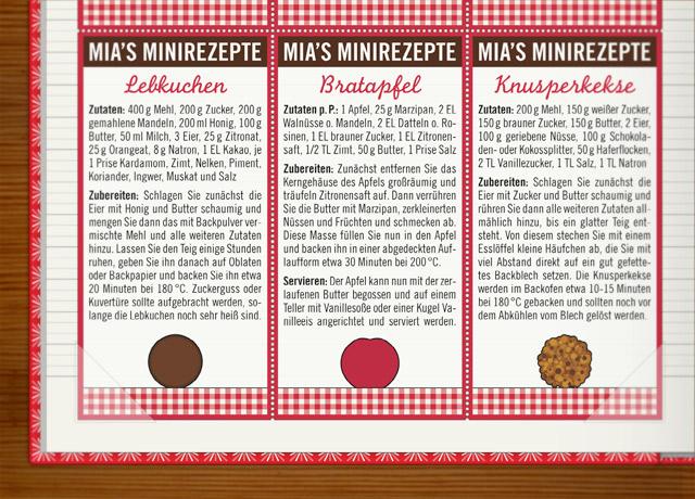 Rezepte für den Advent wie Lebkuchen, Bratapfel und Knusperkekse im Lily Lux Notizbuch
