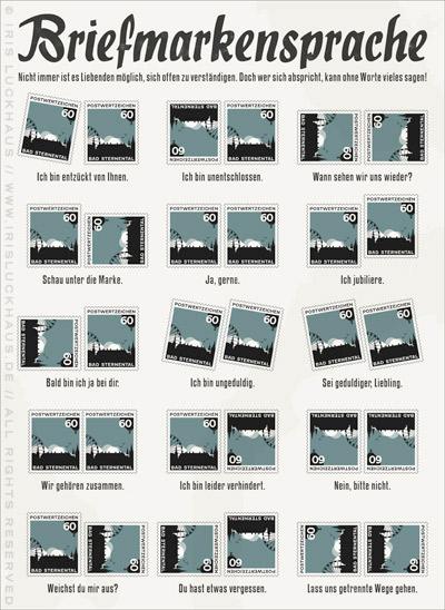 Infografik mit einer Anleitung zur Briefmarkensprache, einem geheimen Code für Liebende, die sich mit Briefmarken verständigen, um die wirklich wichtigen Dinge ohne Worte zu sagen
