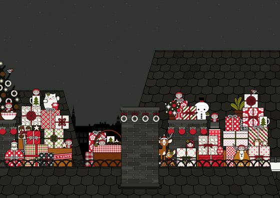 Szenerie über den Dächern, mit Geschenken, Figuren und Dingen, für Making Of Lily Lux Weihnachtskarte mit Engelchen