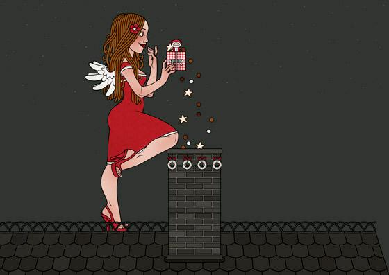 Posen und Kolorierung für Making Of Lily Lux Weihnachtskarte mit Engelchen