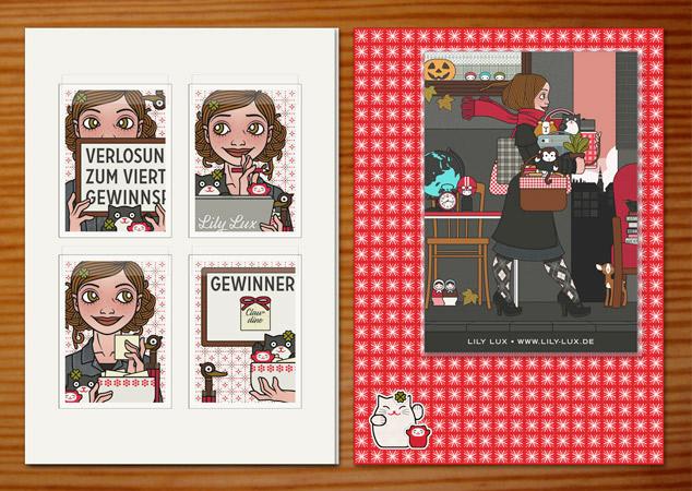 Gewinnerpäckchen mit Postkarte im Muster des Lily Lux Notizbuchs mit Winkekatzen, Klappkarte mit den Passbildern zum Gewinnspiel und einem Magneten mit Sondermotiv