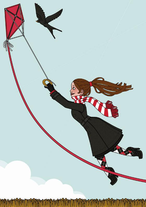 Ausgemalter Malbogen mit Lily Lux an einem stürmischen Herbsttag beim Flug mit einem Lenkdrachen von Iris Luckhaus