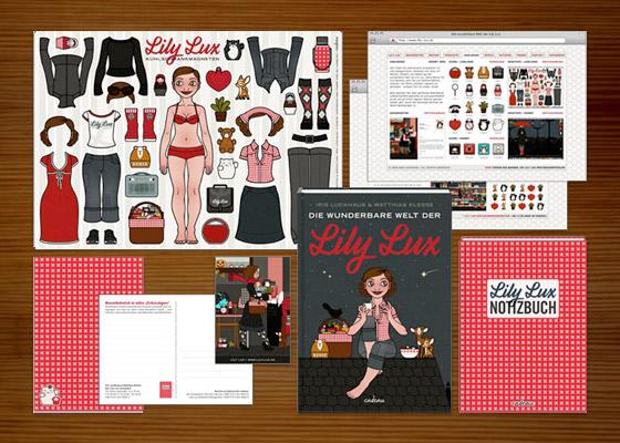 Buch Die wunderbare Welt der Lily Lux, Lily Lux Magnete, Lily Lux Notizbuch, Postkarte, Magnetkarte und Website von Iris Luckhaus und Matthias Klesse