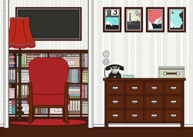 Arbeitszimmer und Wohnzimmer als Hintergrund zur Raumgestaltung und als Seitenlayout für Lily Lux