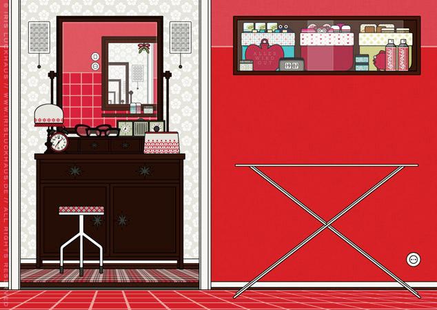 Schlafzimmer und Badezimmer als Hintergrund zur Raumgestaltung und als Seitenlayout für Lily Lux