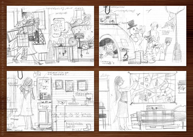 Erste Scribbles von Seitenlayout und Pose für Finden, Begeisterung, Spurensuche und Sehenswürdigkeiten für Lily Lux