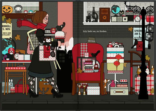 Seite zum Finden von Dingen, Figürchen, Möbeln und Glück aus dem Buch Die wunderbare Welt der Lily Lux