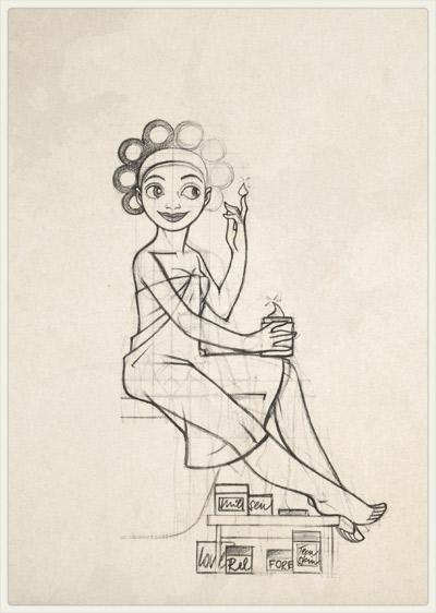Originalzeichnung der Pose für das Staunen über die Wunder der Kosmetik für Lily Lux