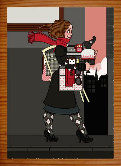 Illustration eines Mädchens, das auf dem Flohmarkt oder Sperrmüll Dinge, Taschen, Lampen, Tassen und Figuren findet und mitnimmt und ganz bepackt ist, für Lily Lux