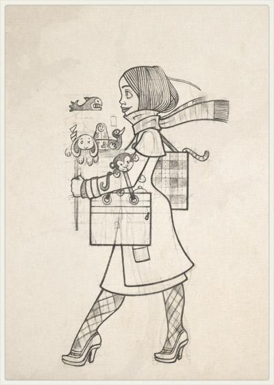 Originalzeichnung der Pose für das Finden von Dingen auf dem Sperrmüll für Lily Lux