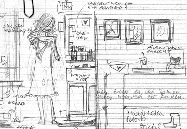 Erste Scribbles von Seitenlayout und Pose für die Suche nach Spuren des Liebsten für Lily Lux