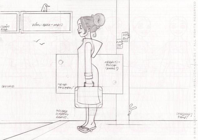 Skizze von einem Mädchen am Bahnhof, das mit viel Gepäck, Taschen, Koffern, Schirm, Lampen, Radio, Hocker und Figuren auf die Reise im Zug nach Paris wartet, für Lily Lux von Iris Luckhaus