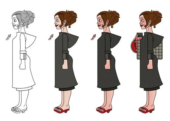 Zeichnung, Kolorierung und Details für ein Mädchen am Bahnhof, das mit viel Gepäck, Taschen, Koffern, Schirm, Lampen, Radio, Hocker und Figuren auf die Reise im Zug nach Paris wartet, für Lily Lux