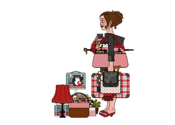 Aufbau der Szene für ein Mädchen am Bahnhof, das mit viel Gepäck, Taschen, Koffern, Schirm, Lampen, Radio, Hocker und Figuren auf die Reise im Zug nach Paris wartet, für Lily Lux