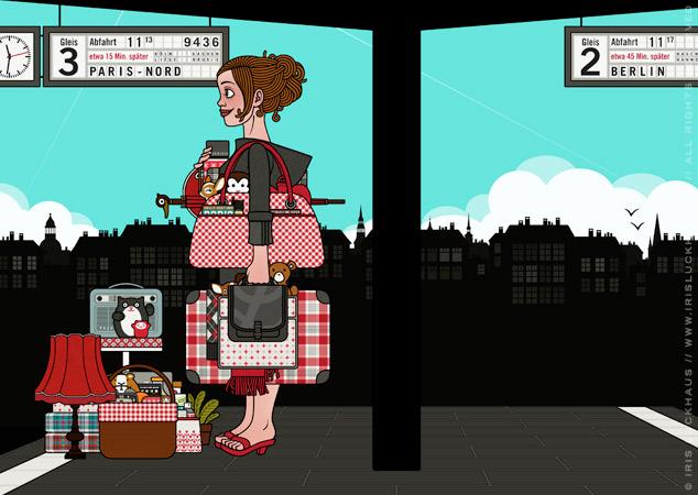 Illustraion für ein Mädchen am Bahnhof, das mit viel Gepäck, Taschen, Koffern, Schirm, Lampen, Radio, Hocker und Figuren auf die Reise im Zug nach Paris wartet, für Lily Lux