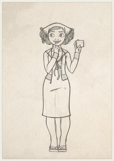 Originalzeichnung der Pose für das Finden von Sehenswürdigkeiten im Hotelzimmer in Paris für Lily Lux