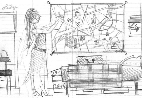 Erste Scribbles von Seitenlayout und Pose für das Aufhängen von Zettelchen mit selbst gefundenen Sehenswürdigkeiten auf dem Stadtplan im Hotelzimmer in Paris für Lily Lux