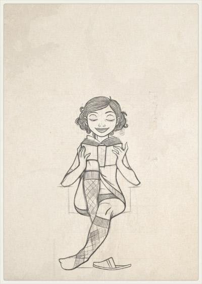 Originalzeichnung der Pose für das Stehlen von Zeit in Unterwäsche mit einem Buch im Lesesessel für Lily Lux