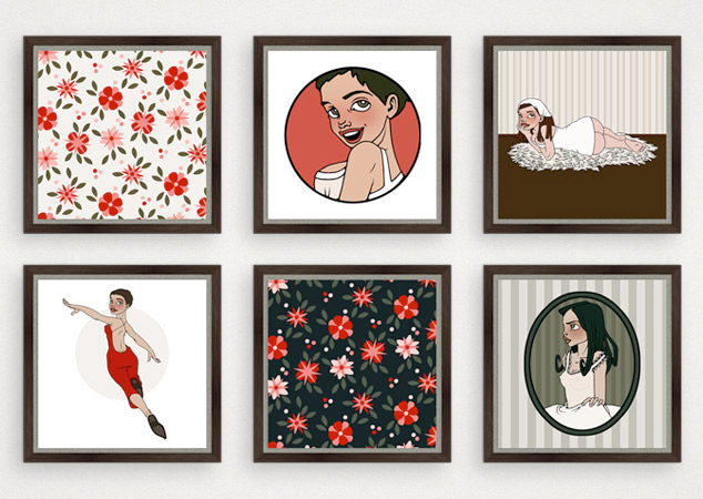 Kunstdrucke aus der Serie Boudoir mit Blumenmustern, Supergirl, Pinups und Koketterie für Druckstock