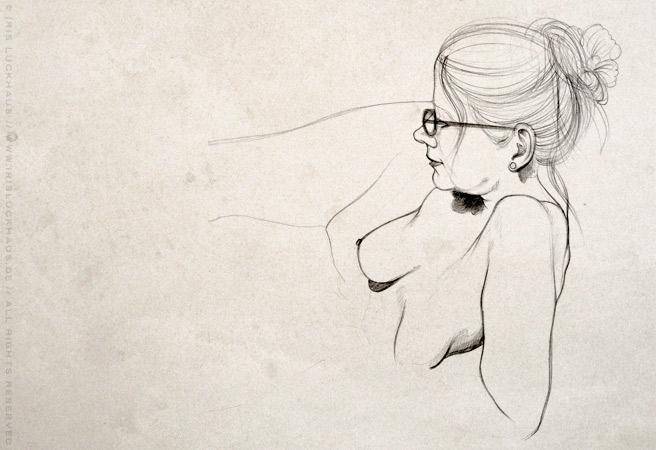 Aktportrait mit Bleistift von Julia